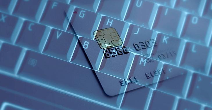 キーボードとクレジットカード