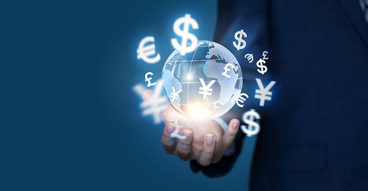 小さい地球と世界の通貨